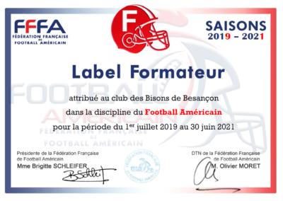 Label formateur Football Américain